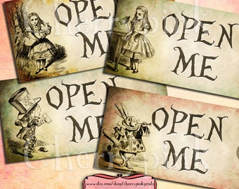 Alice Gift Tags, OPEN ME Set 2 Alice in Wonderland Tags, labels, perfect for parties, presents and invitations.