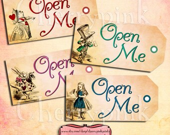 Alice Vintage Tags OPEN ME Set 3, Alice in Wonderland Tags, printable party tags and decorations