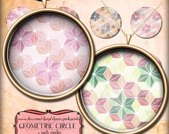 GEOMETIC PATTERN 1 inch Circle Digital Collage Sheet printable images, Downloads for pendants magnets
