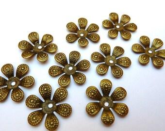 30 flowers bead caps bronze