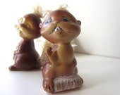 Vintage Japan Enesco Ceramic Beaver Salt and Pepper Set with Fur Tails