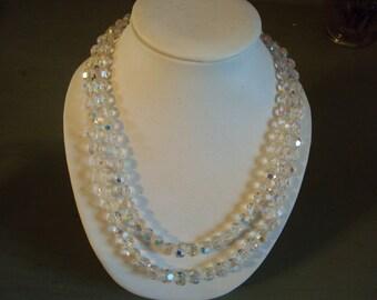 Vtg. Aurora Borealis Crystal Glass 2-Strand Necklace Silvertone