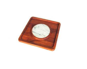 Modern Teak and White Marble Cutting Board and Cheese Serving Tray