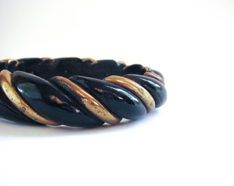Vintage Boho Bangle Bracelet - Chunky Twisted Black and Brass
