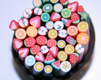 10 pcs Good Deals In the Box Polymer Clay Cane fruit sticks Mix for crafting, use your imagination