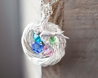 Bird Nest Necklace | Personalized Keepsake | Nest Necklace | Mother Grandmother 4 Children | Birthstone Crystal Eggs | Bird Jewelry