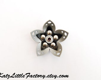 Small Cyber Flower in Silver Grey Black Reflective PVC hair clip