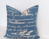 Denim Blue/ Natural French Script Accent Pillow Decorative Paris Pillow Cover French Stamp