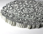 25 Silver 4 inch round paper doilies party supply wedding supply