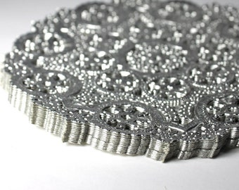 50 Silver 4 inch round paper doilies party supply wedding supply