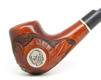 Wooden Tobacco Smoking pipe - Yorick's Skull -  Carved of Pear Wood (9mm filter), NEW