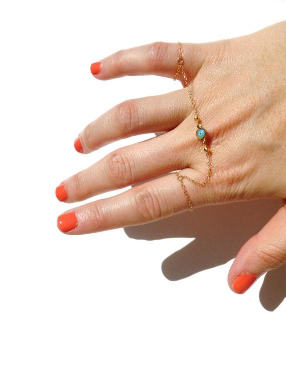 Evil Eye Ring - Gold Ring - Knuckle Rings - Delicate Eye Ring - Gift for Her / Valentine Gift Idea
