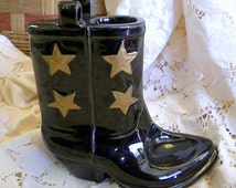 Vintage Western Boot pottery pipe stand made in Japan unusual