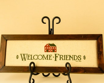 FREE SHIPPING - Folk Art - Welcome Friends Counted Cross Stitch