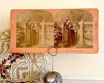 """Stereoview Card, """"The Gate"""", Sepia"""