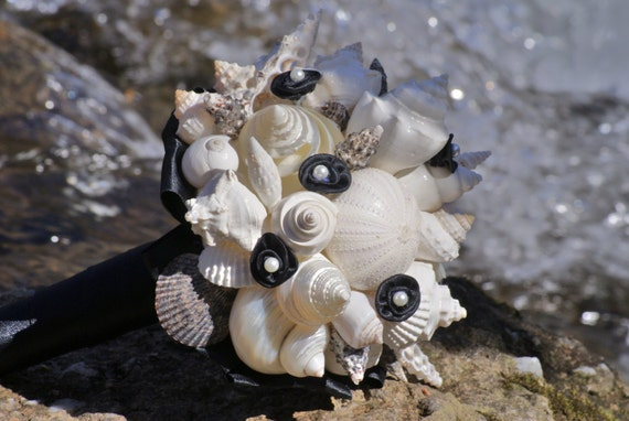 Clearance only one available Black and White Seashell Bouquet /  Beach Wedding Bouquet READY TO SHIP