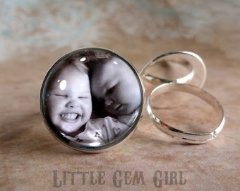 Custom Photo Ring - Picture Ring - Photo Jewelry 20mm Photo - Gunmetal Grey or Silver Setting - Mothers Day Mom Mimi Nana Grandma