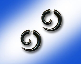 Small Tribal Spirals, Fake Gauges, Organic, Black Horn, Handmade, Split, Plugs, Cheaters, Expanders - H26