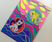 My Little Pony G4 ACEO ATC - Neon BFFs - Rarity & Fluttershy Art Card - Kawaii Stickers and Neon Abstract Stencil Design