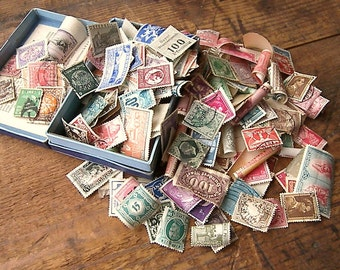 Vintage Postage Stamps from Around the World, Twenty Old Stamps for Scrapbooking, Re-purpose for Art Projects and Home Decor