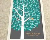 Wedding Guest Book Tree - The Wishwik Multi Guestbook Tree - Peachwik Print - 300 guest sign in - Mint & Aqua Guestbook Alternative