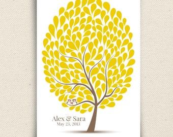 Wedding Owl Guest Book Alternative - The Hootwik - A Peachwik Interactive Art Print - 175 guest sign in - Companion Owls in a Tree