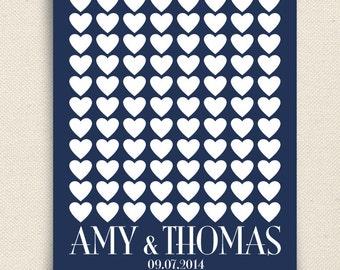 Wedding Guest Book Alternative - The Lovewik - A Peachwik Personalized Art Print - 88 guest sign in - Classic Hearts Wedding Guestbook
