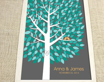 Wedding Guest Book Tree - The Wishwik Multi Guestbook Tree - Peachwik Print - 300 guest sign in - Mint & Aqua Guestbook Alternative