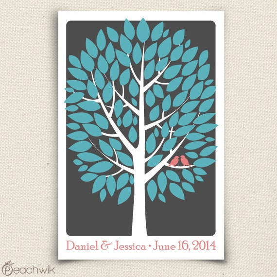 Personalized Wedding Guest Tree - The Modwik - A Peachwik Interactive Art Print - 100 guest sign in - Modern Tree Guestbook