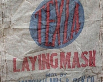 Vintage Grain Bag, TEXLA Laying Mash Feedsack, Primitive Fabric Feed Sack, Marshall Mill Elev Co Texas, Farmhouse Home Decor itsyourcountry