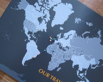 World Map Mounted on Foam Board, Blank Map, 11X14 Inches, World Travel, Honeymoon, Vacation Art, Travel Map