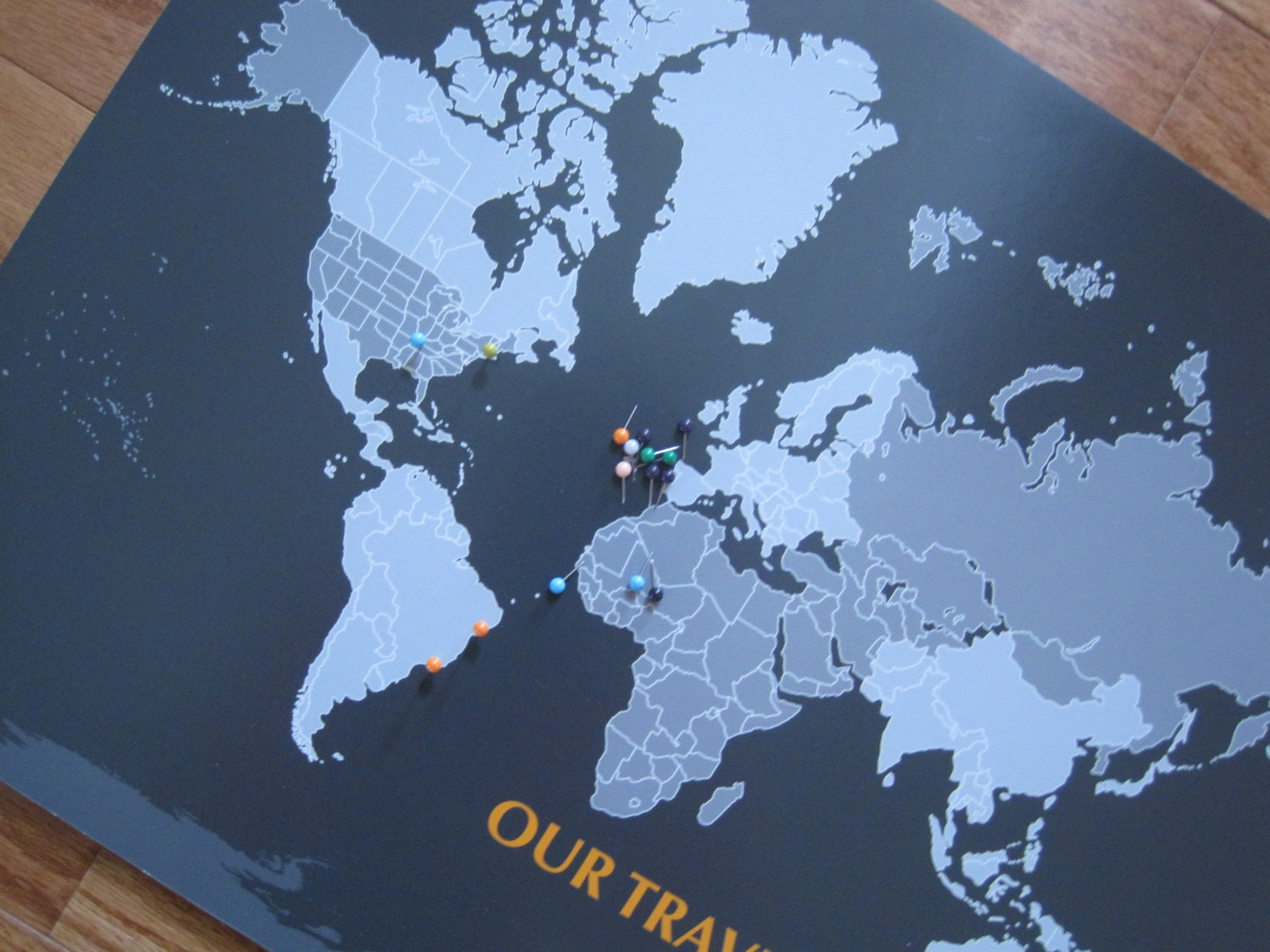 Personalized Map Mounted on Foam Board Blank by TexturedINK – Personalized World Traveler Map