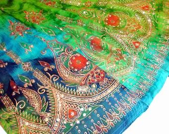 Blue Maxi Skirt, Tie Dye Skirt, Gypsy Skirt, Long Indian Skirt, Boho Sequin Skirt, Hippie Skirt, Bohemain Festival Clothing