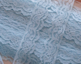"""Lace Trim Scalloped Baby Blue 1 1/4"""" Wide."""