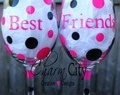 Best Friends Wine Glasses 20 oz Set of 2 Holiday Birthday Friend Bridal Bachelorette
