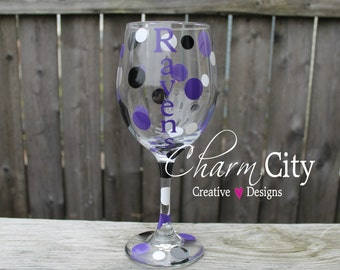 Baltimore Ravens Wine Glass 20 oz personalized football Super Bowl gifts