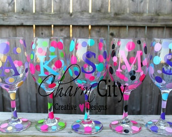 Personalized Wine Glass 20 oz girls night in, girls night out