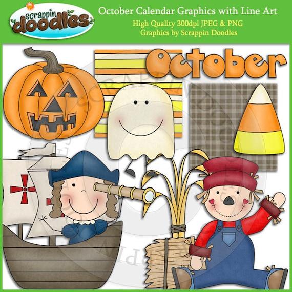 October Calendar Art : October calendar clip art with line download