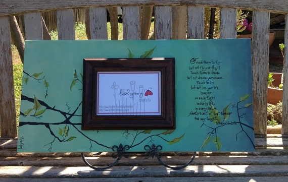 Teach them.... from Teresa of Calcuta quote. Personalized picture frame by Ladybug Design by Eu. Mothers Day, Granda gift, Anniversary, Grad