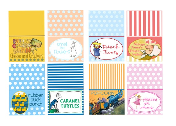Children 39 s book themed baby shower food tents by jenleonardini for Childrens shower head