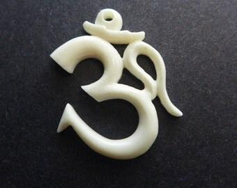 Om Pendant - Hand Carved Bone - Balinese