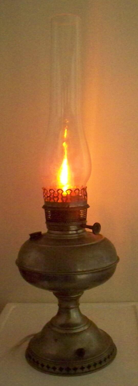 Antique Rayo Oil Hurricane Lamp Conversion Aluminum Or Nickel