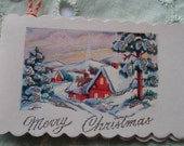 1930 Christmas Gift Card Tag Scrapbooking Craft Altered Art  Silver Christmas Cottage Snow Scene