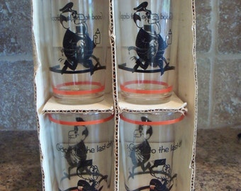 FREE USA SHIPPING-Set of 4 Vintage Hazel Atlas Gas Station Drinking Glasses w/Box