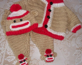 Crochet Sock Monkey Sweater Set and Leggings Layette Perfect For Baby Shower Gift