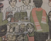 Vintage Decorative Linen irish Tea Kitchen Towel Harrods kitschy crowd buying goods at a market small child looking on