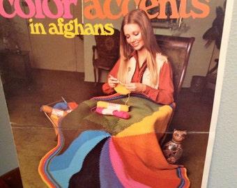 Color Wheel PATTERN afghan or PONCHO leaflet 2527  crochet
