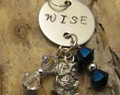 Wise Owl Metal Stamped Pendant