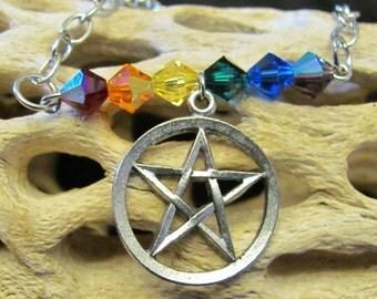 Rainbow Pride Pentacle Necklace