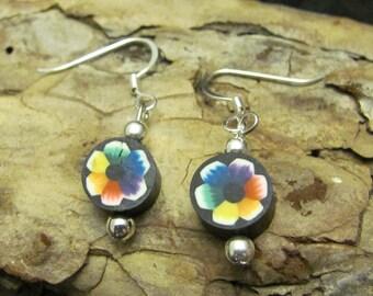 Rainbow Pride Flower Earrings